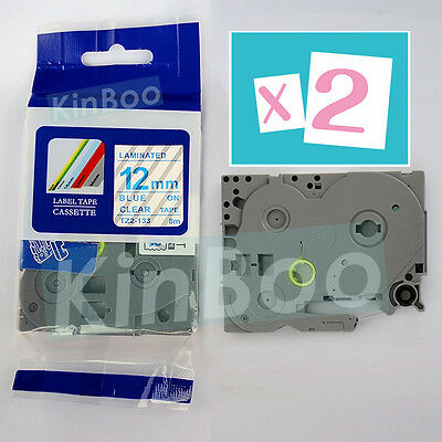 2 Pack Tape Label Compatible for Brother P-Touch TZ TZe 133 Blue on Clear 12mm