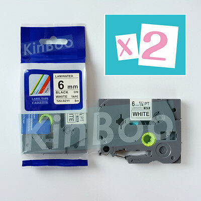 2 Pack Tape Label Compatible for Brother P Touch TZ TZe S211 Black on White 6mm