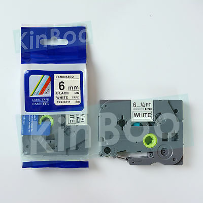 1 Pack Tape Label Compatible for Brother P Touch TZ TZe S211 Black on White 6mm