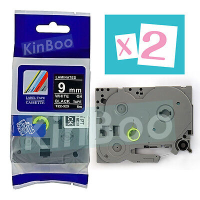 2 Pack Tape Label Compatible for Brother P-Touch TZ TZe 325 White on Black 9mm