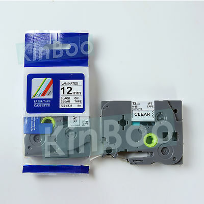 1 Pack Tape Label Compatible for Brother P-Touch TZ TZe S131 Black on Clear 12mm