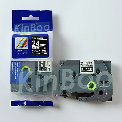 1 Pack Tape Label Compatible for Brother P-Touch TZ TZe 355 White on Black 24mm