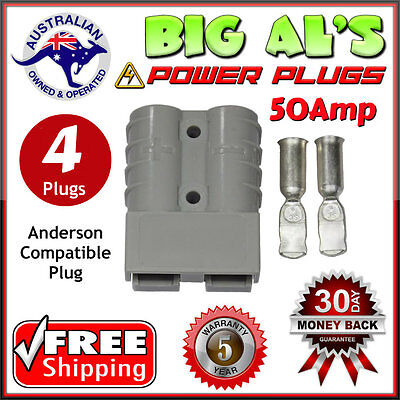 4 X 50Amp DC Power Plug Connector Anderson Style 12v 24v Fridge Charger Battery