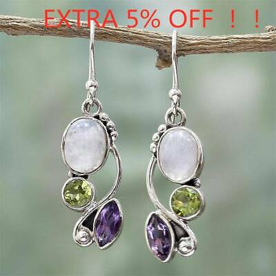 Women Natural Rainbow Moonstone Amethyst Dangle Hook Earrings Wedding Jewelry AU
