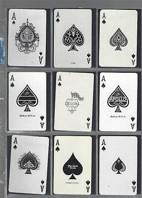 Playing Cards * Ace Of Spades * 9  Single  Vint World  Spade Aces  All Different