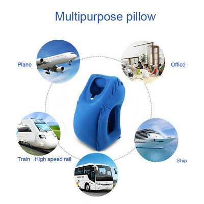 Portable Head Neck Rest Pillow Inflatable Travel Pillow Ergonomic + Carrying Bag