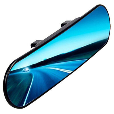 Large Wide Curve Clip On Car Interior Rear View Mirror Blue Lens No Blasting