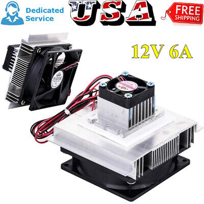 12V 6A Thermoelectric Peltier Refrigeration Cooler Fan Cooling System Kit Hot US