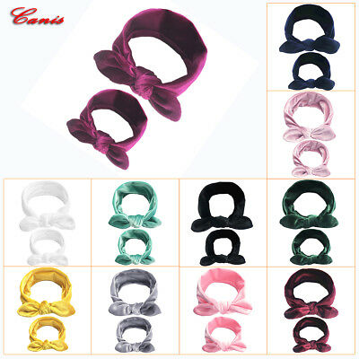 2Pcs/Lot Mom Mother & Kids Daughter Baby Girl Bow Headband Hair Band Accessories