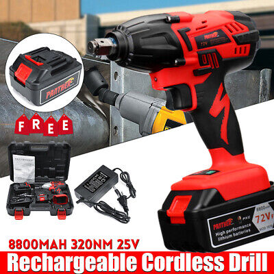 "Cordless Impact Wrench Screwdriver 72V Li-ion Lithium Ion 1/2"" Ratchet Nut Gun"