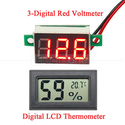 Red LED Voltage Meter Digital LCD Temperature Humidity Thermometer Hygrometer