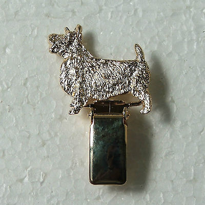 Australian Terrier Show Ring Clip 22 ct Gold Plated Dog Breed Jewellery