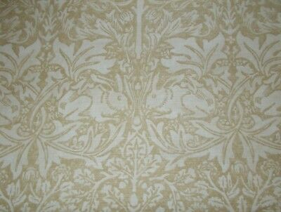 William Morris Curtain Fabric 'BRER RABBIT' 1 METRE Manilla/Ivory - Linen Mix