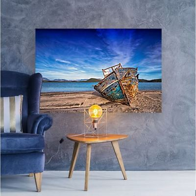 BEAUTIFUL COLORFUL BOAT SCENERY ART HIGH QUALITY Framed Canvas  choose your size