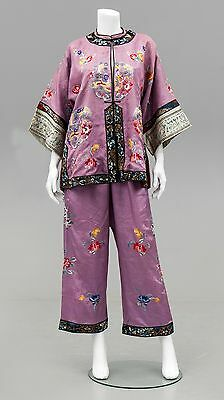 Antique Chinese Qing Dynasty Embroidered Silk Clothing Set