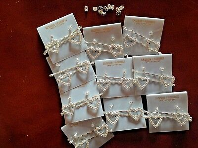JOB LOT-10 pairs of crystal diamante hair grips+0.4cm stud earrings.Silver plate