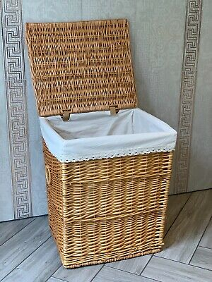 Light Brown Stylish Shabby Chic Rattan Wicker Laundry Baskets Storage Bedroom
