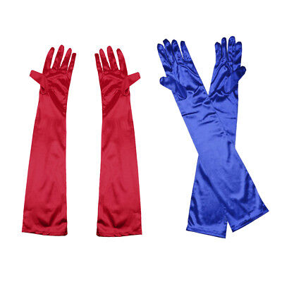 2 Pairs Women Long Satin Gloves Opera Costume Bridal Wedding Party Prom Gift