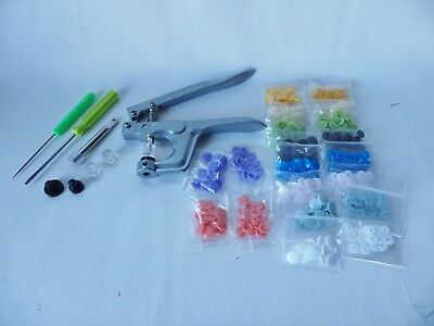 KAM Snaps Starter Kit Press Poppers Fasteners Tool + 10 x 15 (150)coloured snaps