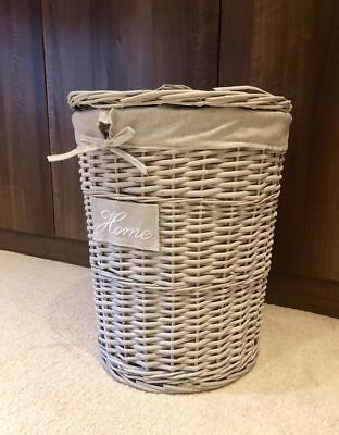 New Grey Storage Lidded Wicker Hand Woven Laundry Storage Basket Strong Durable