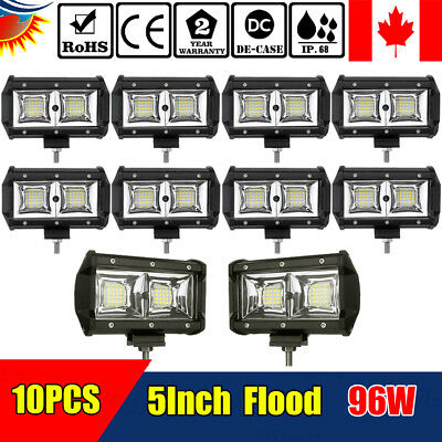 10PCS 5 Inch 96W LED Work Light Bar Flood Driving Lamp Car Truck Offroad Jeep