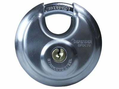 Squire Defender Discus Hardened Steel Padlock Stainless Steel - 70mm - DFDC70