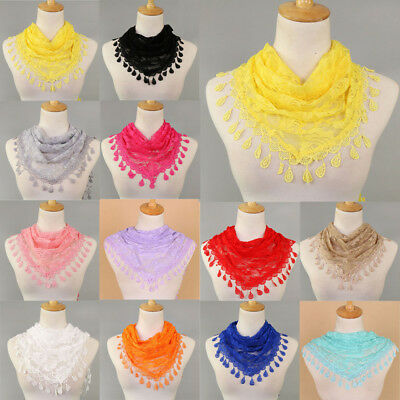 Ladies Lace Tassel Rose Floral Knit Mantilla Triangle Hollow Scarf Shawl Wraps H