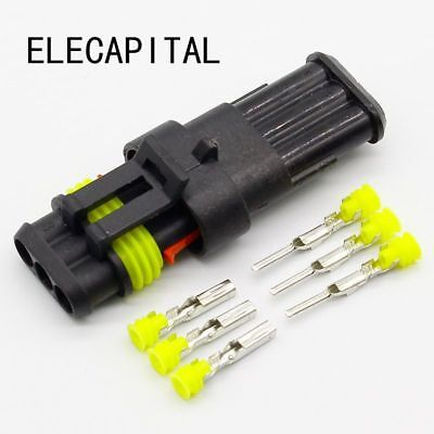5 Sets Kit 3 Pin Way Waterproof Electrical Wire Automotive Connector Plug