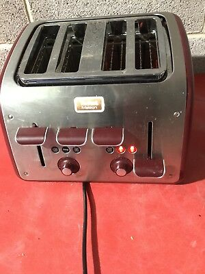 Tefal Maison 4 Slice Toaster Stainless Steel Burgundy Large Slots RRP £50