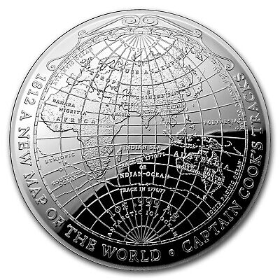 2019 Australia 1 oz Silver $5 Map of the World Domed Proof Coin - SKU#180435