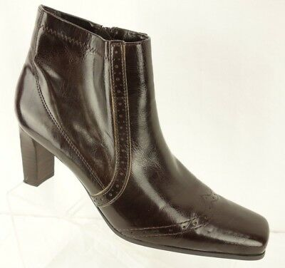 84f2a5f91ea FRANCO SARTO  Cady  Brown Patent Brogue Accent Zip Up Ankle Boot Women s ...