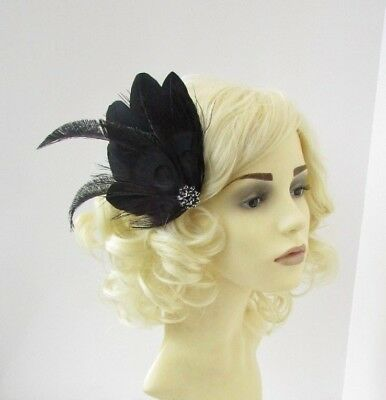 Black Peacock Feather Fascinator Hair Clip Races Wedding 1920s Great Gatsby 6624