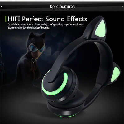 Foldable Wireless Bluetooth Stereo Gaming Headset Cat Ear LED Headphones W/ Mic