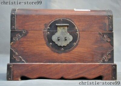 Chinese Huanghuali Wood inlay Shell Flower Magpie Storage Jewelry Box Container