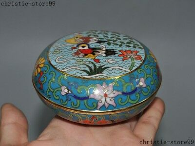 Old Chinese Dynasty Bronze Cloisonne Enamel Flower mandarin duck statue Box Boxs