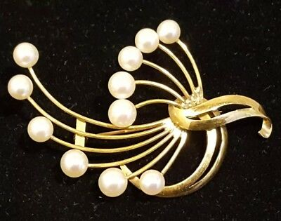 14K Yellow Gold & Cultured Pearl Brooch Pin Jewelry