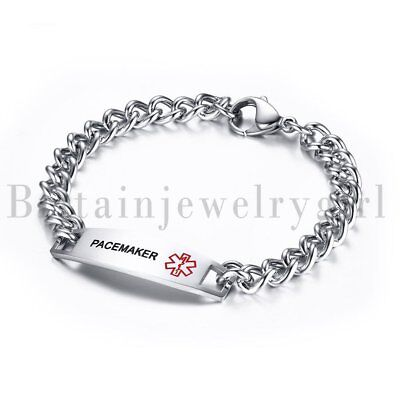 MEN Women LASER ENGRAVED Emergency Medical Alert Stainless Steel Bracelet 8.7""