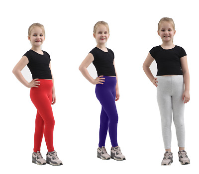 Children Kids Girls Plain Cotton Full Length Leggings Party Pants All Ages