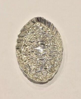 Antique Oval Silver Repousse Pin Dish, Chester 1897