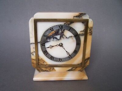 Small ELLIOTT Onynx Marble Mantle Clock Wind Up Mechanism, Working a/f