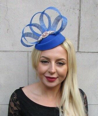 Cobalt Royal Blue Rose Gold Silver Pillbox Hat Hair Fascinator Clip Races 6627