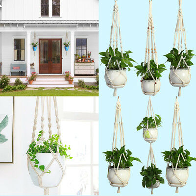 Gardening Flowerpot Lifting Macrame Braided Plant Hanger Knotted Vintage Home