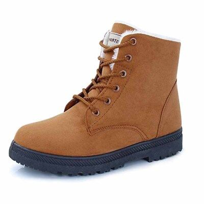 Womens Faux Suede Snow Boots Winter Warm Casual Fur Lace-up Ankle Shoes High Top