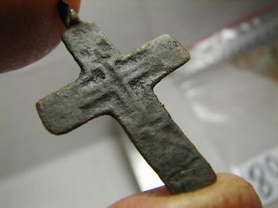Rare !  Big ! 100% Authentic ! Late Medieval Orthodox Bronze Cross Pendant! #890