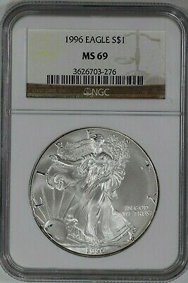 1996 American Silver Eagle Ase S$1 Ngc Certified Ms 69 Very Light Spotting (276)