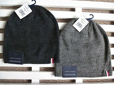 TOMMY HILFIGER Charcoal or Grey Melange Beanie Hat Toque OSFA New Tags GENUINE!