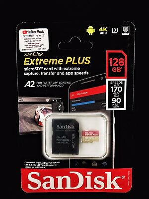 SanDisk Extreme Plus A2 Micro SD Card  w/Adapter Brand New & Authentic 128GB 128