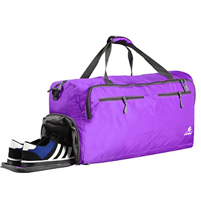 Coreal 60L Duffel Bag Packable Travel Gym Luggage with Shoe Compartment  Purple fa005b7412591
