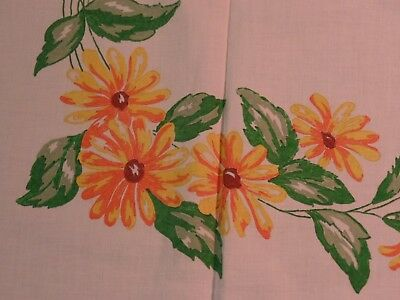Vintage Fabric Painted Tablecloth, Orange & Yellow Daisy Flowers, Green Leaf