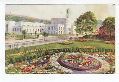 Postcard. Floral Clock and Civic Centre Swansea.